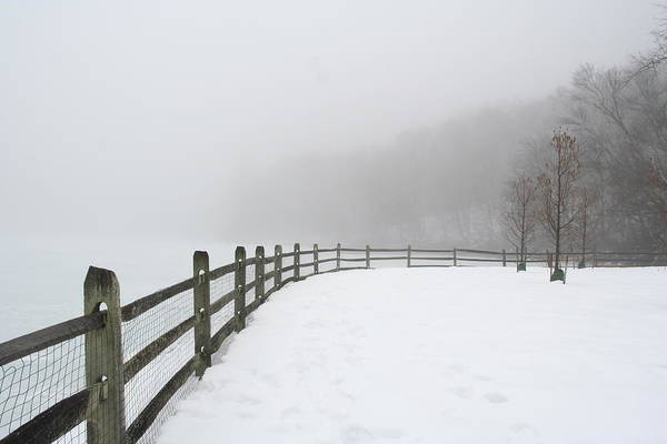 Fence In Fog Art Print