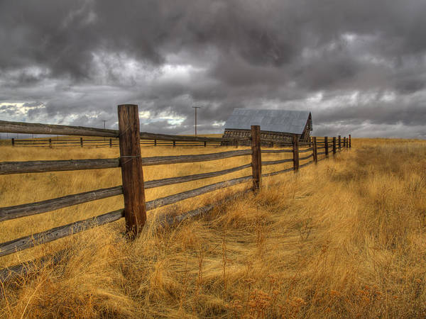 Photograph - Fence Line In Storm by Jean Noren