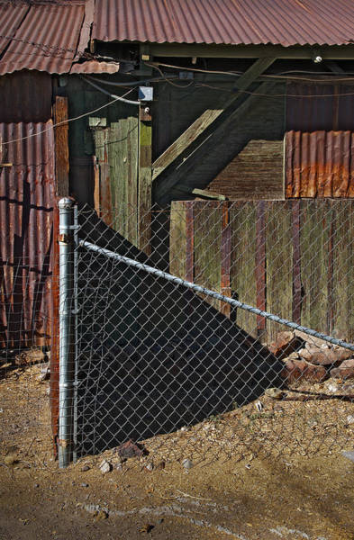 Chain Link Photograph - Fence Wood And Wires by Murray Bloom