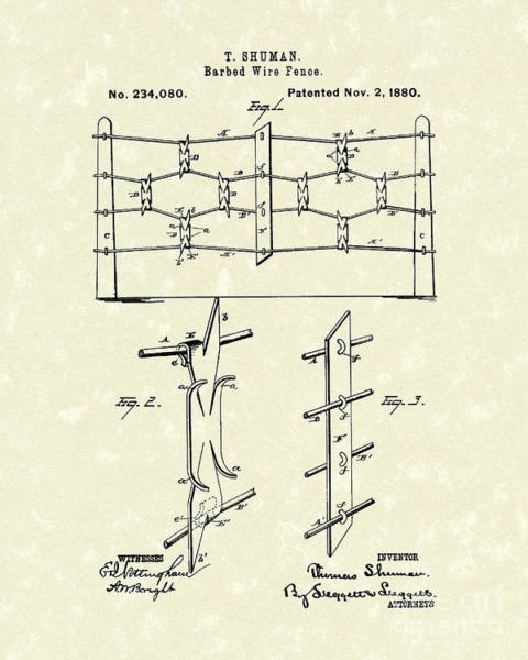Photograph - Fencing 1880 Patent Art by Prior Art Design