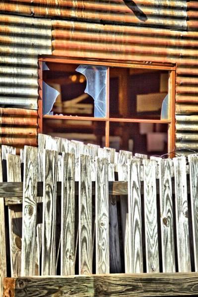 Photograph - Fencing Outside Broken Window by Gordon Elwell