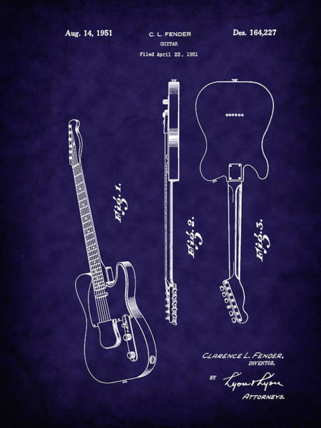 Photograph - Fender 1951 Electric Guitar Patent Art-b by Barry Jones