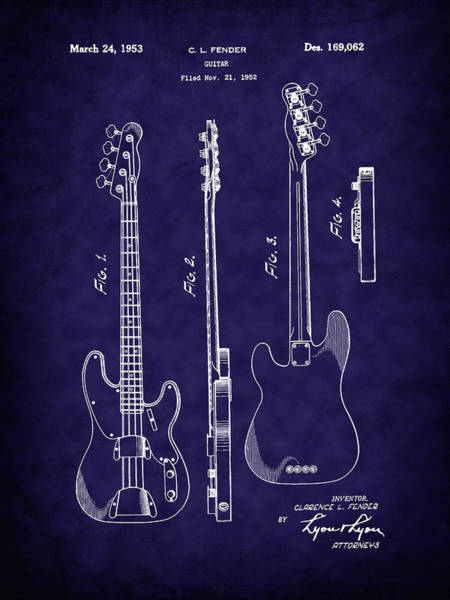 Photograph - Fender 1953 Bass Guitar Patent Image-b by Barry Jones