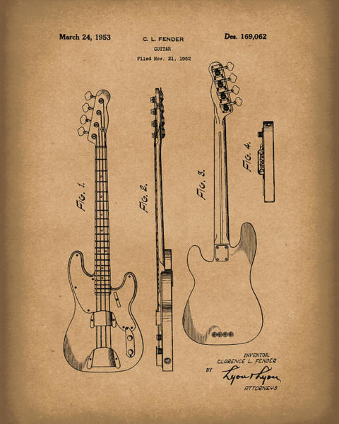 Drawing - Fender Bass Guitar 1953 Patent Art Brown by Prior Art Design