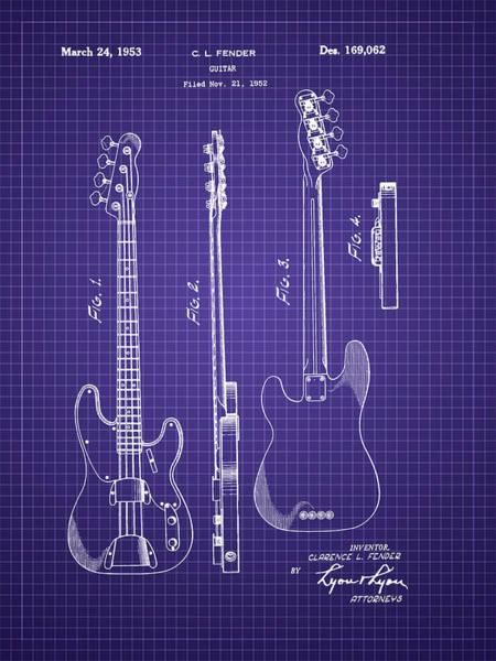 Photograph - Fender Bass Guitar Patent-1953 by Barry Jones