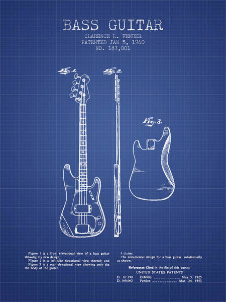 Wall Art - Digital Art - Fender Bass Guitar Patent From 1960 - Blueprint by Aged Pixel