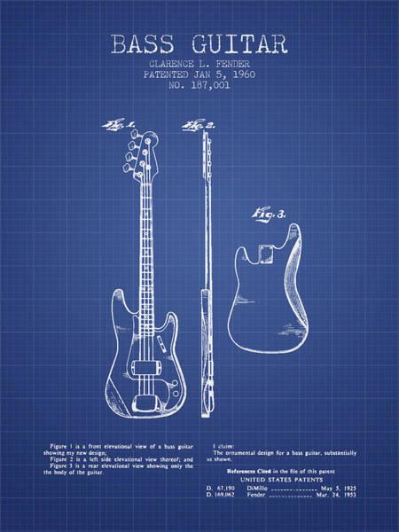 Bass Guitar Digital Art - Fender Bass Guitar Patent From 1960 - Blueprint by Aged Pixel