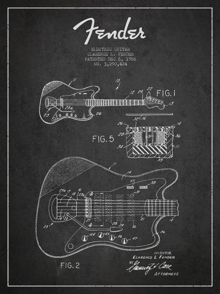 Tremolo Digital Art - Fender Electric Guitar Patent Drawing From 1966 by Aged Pixel