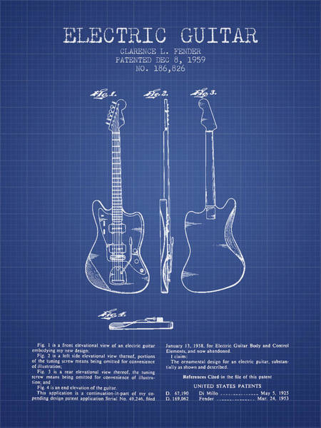 Bass Guitar Digital Art - Fender Electric Guitar Patent From 1959 - Blueprint by Aged Pixel