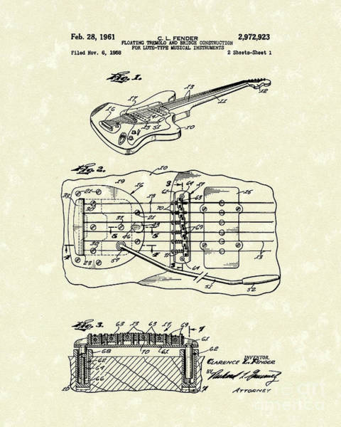 Drawing - Fender Floating Tremolo 1961 Patent Art by Prior Art Design