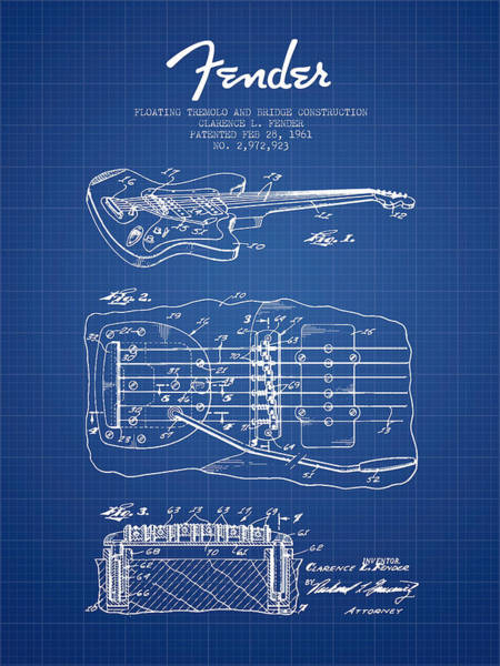 Tremolo Digital Art - Fender Floating Tremolo Patent Drawing From 1961 - Blueprint by Aged Pixel