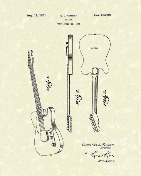 Drawing - Fender Guitar 1951 Patent Art by Prior Art Design