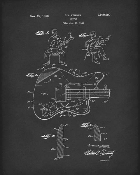 Drawing - Fender Guitar 1960 Patent Art Black by Prior Art Design