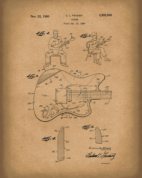 Drawing - Fender Guitar 1960 Patent Art Brown by Prior Art Design