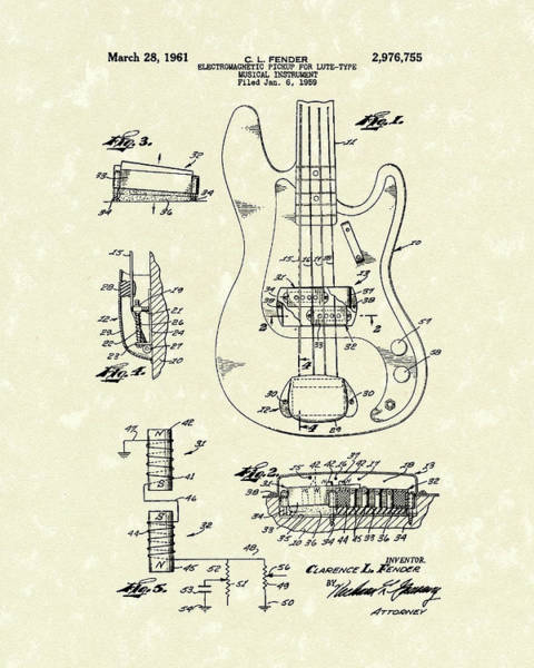 Electric Guitar Wall Art - Drawing - Fender Guitar 1961 Patent Art by Prior Art Design