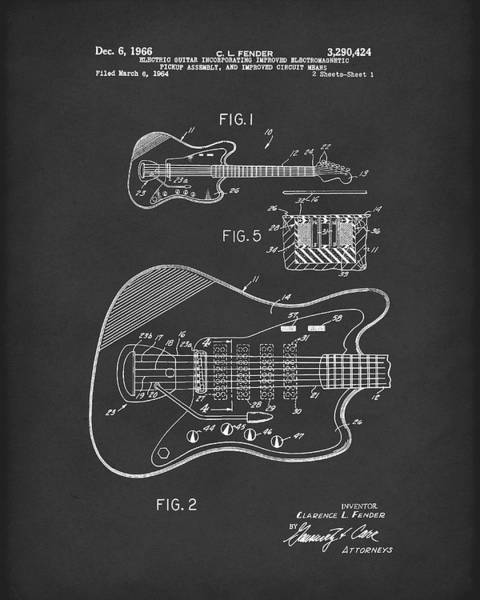 Drawing - Fender Guitar December 1966 Patent Art Black by Prior Art Design