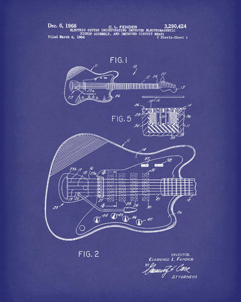 Drawing - Fender Guitar December 1966 Patent Art Blue by Prior Art Design