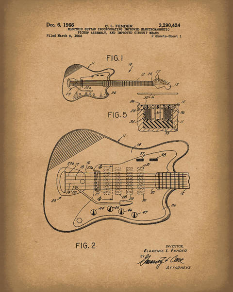 Drawing - Fender Guitar December 1966 Patent Art Brown by Prior Art Design