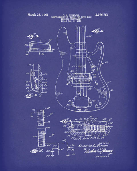 Drawing - Fender Guitar March 1961 Patent Art Blue by Prior Art Design
