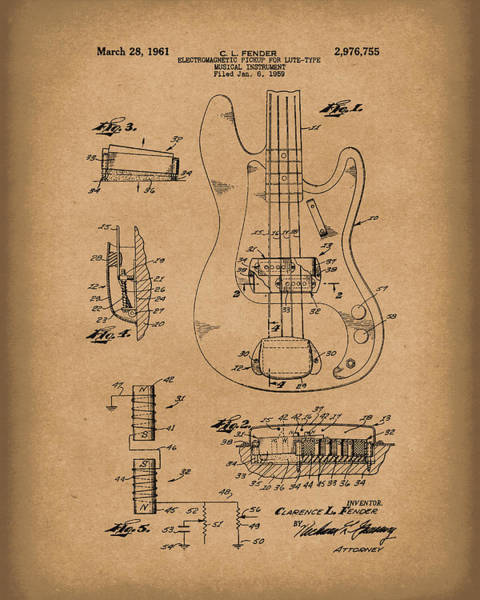 Drawing - Fender Guitar March 1961 Patent Art Brown by Prior Art Design