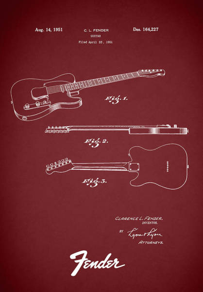Wall Art - Photograph - Fender Guitar Patent 1951 by Mark Rogan