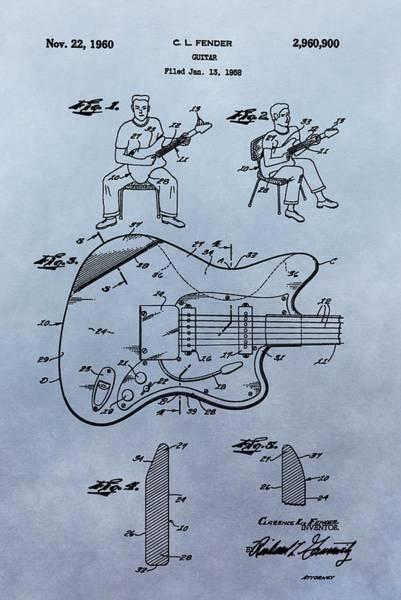 Wall Art - Digital Art - Fender Guitar Patent by Dan Sproul