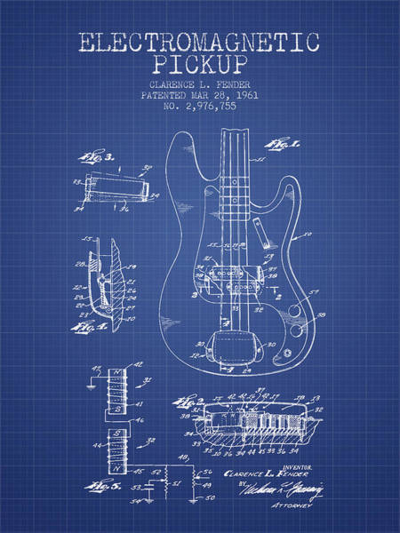 Electric Guitar Digital Art - Fender Guitar Patent From 1961 - Blueprint by Aged Pixel