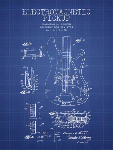 Bass Guitar Digital Art - Fender Guitar Patent From 1961 - Blueprint by Aged Pixel