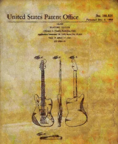 Wall Art - Painting - Fender Guitar Patent On Canvas by Dan Sproul