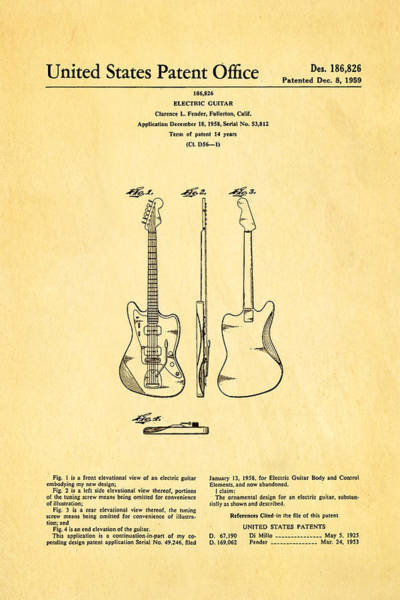 Household Photograph - Fender Jazzmaster Guitar Design Patent Art 1959 by Ian Monk