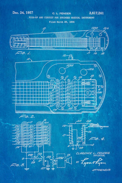 Stratocaster Photograph - Fender Pick-up Patent Art 1957 Blueprint by Ian Monk