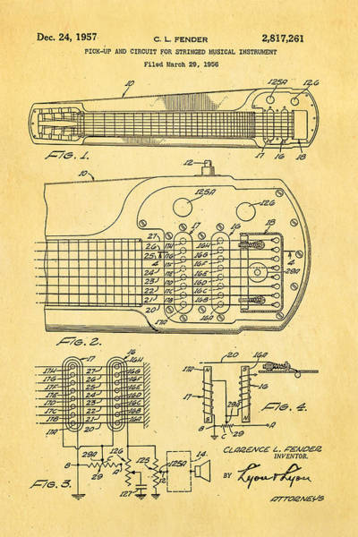 Stratocaster Photograph - Fender Pick-up Patent Art 1957  by Ian Monk