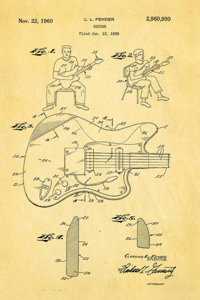 Inventor Photograph - Fender Jazzmaster Guitar Patent Art 1960  by Ian Monk