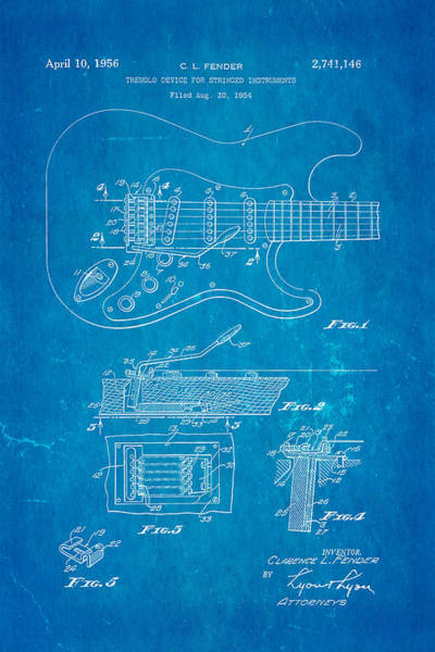 Stratocaster Photograph - Fender Stratocaster Tremolo Arm Patent Art 1956 Blueprint by Ian Monk