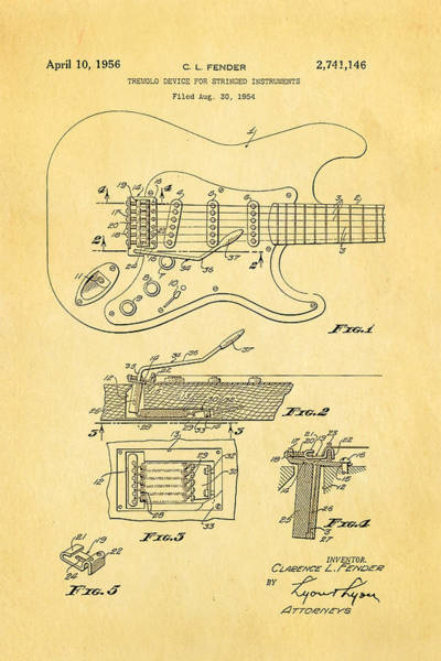 Stratocaster Photograph - Fender Stratocaster Tremolo Arm Patent Art 1956 by Ian Monk