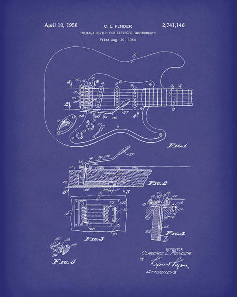 Drawing - Fender Tremolo Device 1956 Patent Art Blue by Prior Art Design