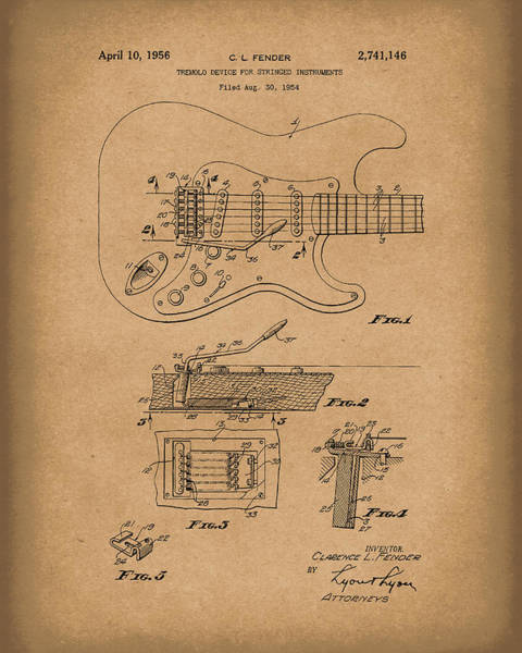 Drawing - Fender Tremolo Device 1956 Patent Art Brown by Prior Art Design