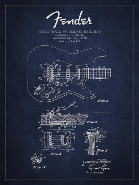 Intellectual Property Wall Art - Digital Art - Fender Tremolo Device Patent Drawing From 1956 by Aged Pixel