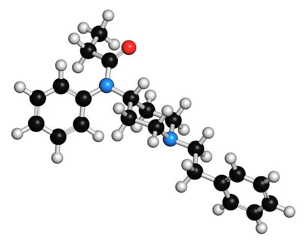 Chronic Wall Art - Photograph - Fentanyl Opioid Analgesic Drug Molecule by Molekuul
