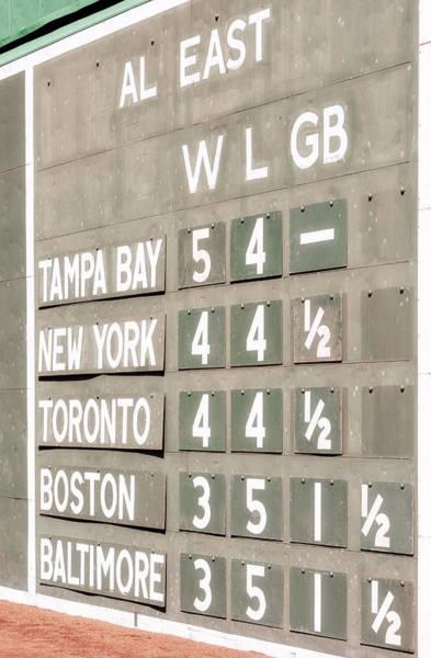 Photograph - Fenway Park Al East Scoreboard Standings by Susan Candelario