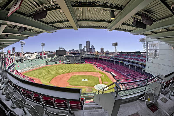 Photograph - Fenway Park And Boston Skyline by Susan Candelario