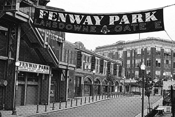 Photograph - Fenway Park Banner Black And White by Toby McGuire