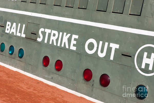Photograph - Fenway Park Green Monster Scoreboard IIi by Clarence Holmes