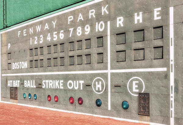 Photograph - Fenway Park Scoreboard by Susan Candelario