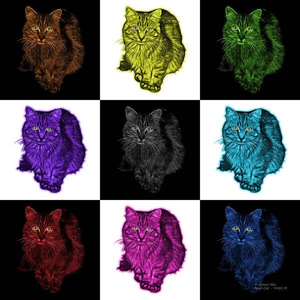 Digital Art - Feral Cat - 9905 F M- V1 by James Ahn