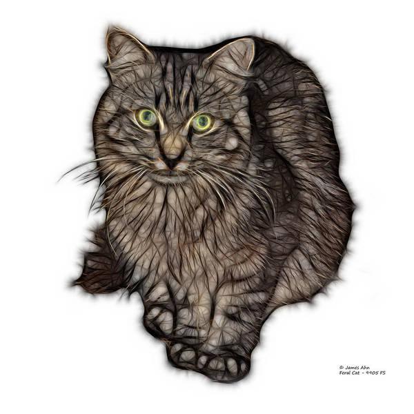 Digital Art - Feral Cat - 9905 Fs by James Ahn