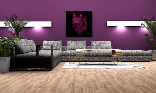Digital Art - Feral Cat In Purple by James Ahn