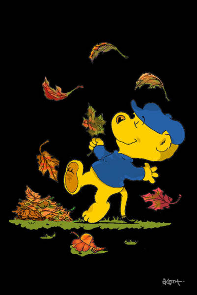 Ferrets Drawing - Ferald Dancing Amongst The Autumn Leaves by Keith Williams