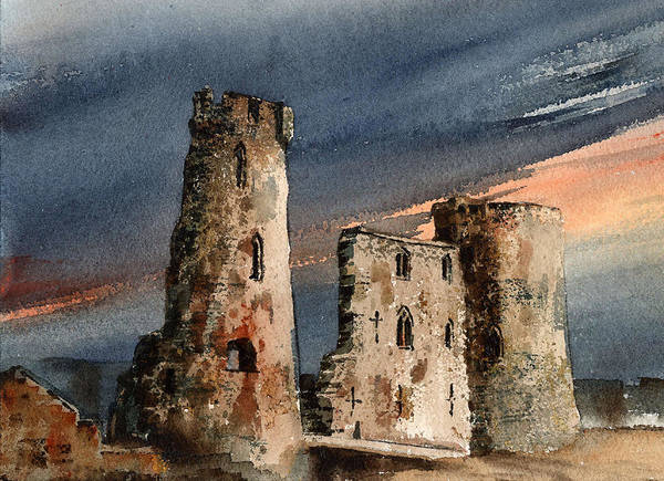 Mixed Media - Ferns Castle  Wexford by Val Byrne