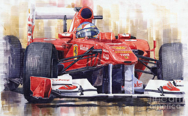 Watercolour Painting - 2011 Ferrari 150 Italia Fernando Alonso F1   by Yuriy Shevchuk